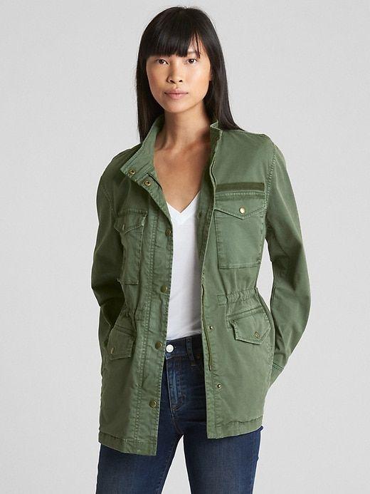 83ae9b9e488dd Gap Womens Military Shirt Jacket Jungle Green | Products in 2019 ...