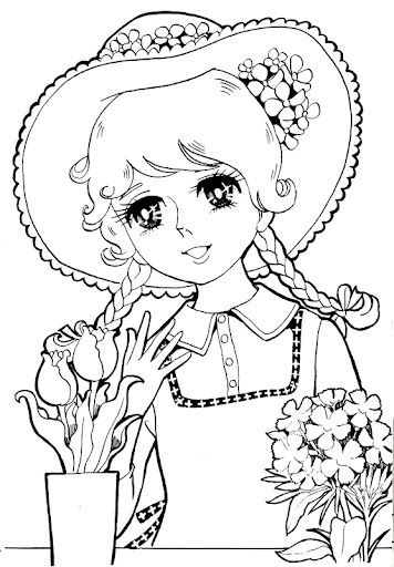 Vintage Japanese Coloring Book 8 anime shojo coloring