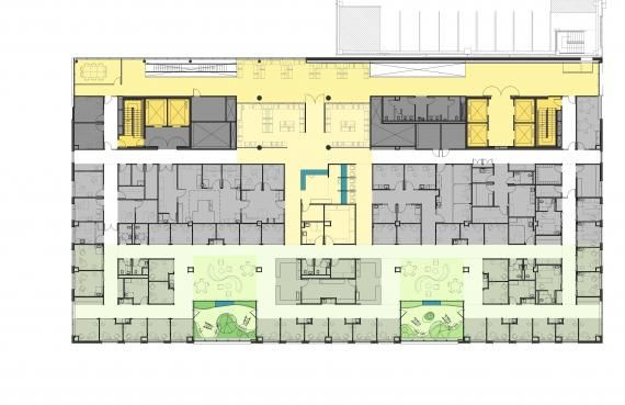 Figure 1. Floor plan, infusion suite and pharmacy, Thomas Jefferson University Hospitals Ambulatory Care Center. © Payette.