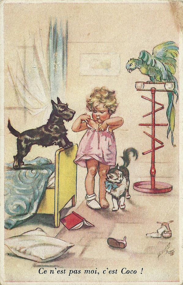 It's not me, it's Coco - vintage postcard by Germaine Bouret