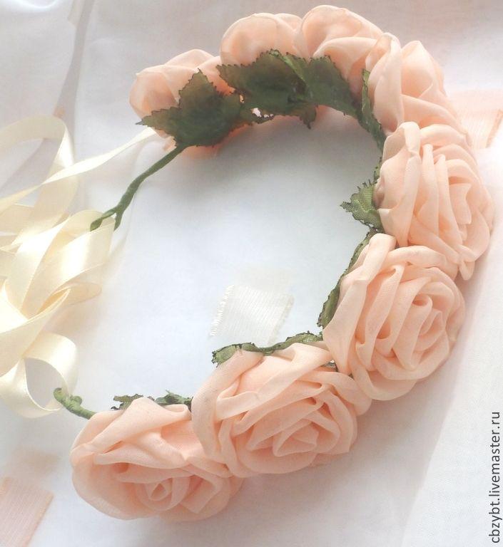 Купить Ободок-венок с розами из ткани. - кремовый, персиковый, венок из цветов, венок с розами
