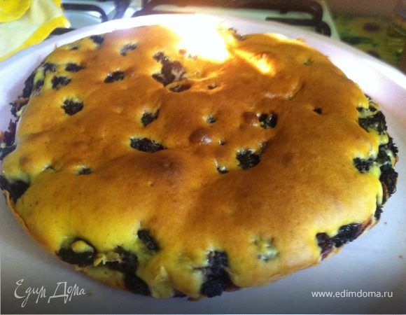 Пирог с шелковицей. Ингредиенты: яйца куриные, сахар, йогурт