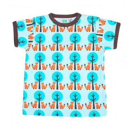 T-shirt, foxes and trees, turquoise, Sture & Lisa