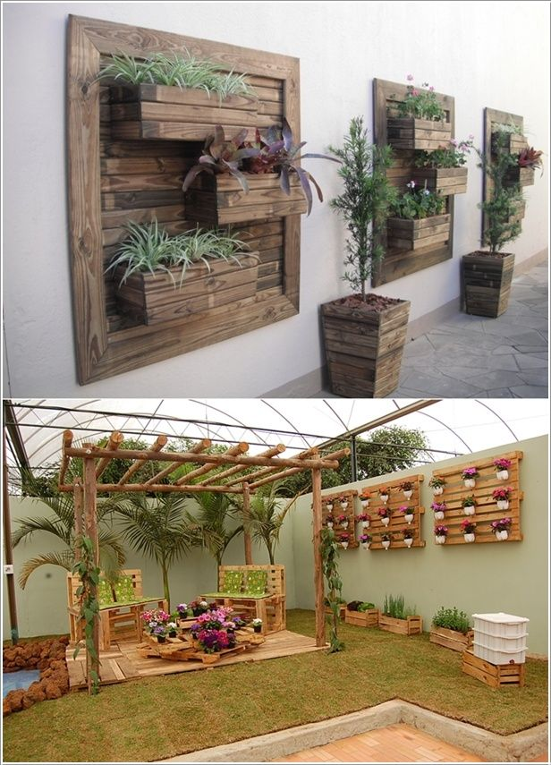 Re-purposed wooden pallets as wall planters and pots. Looks real good!