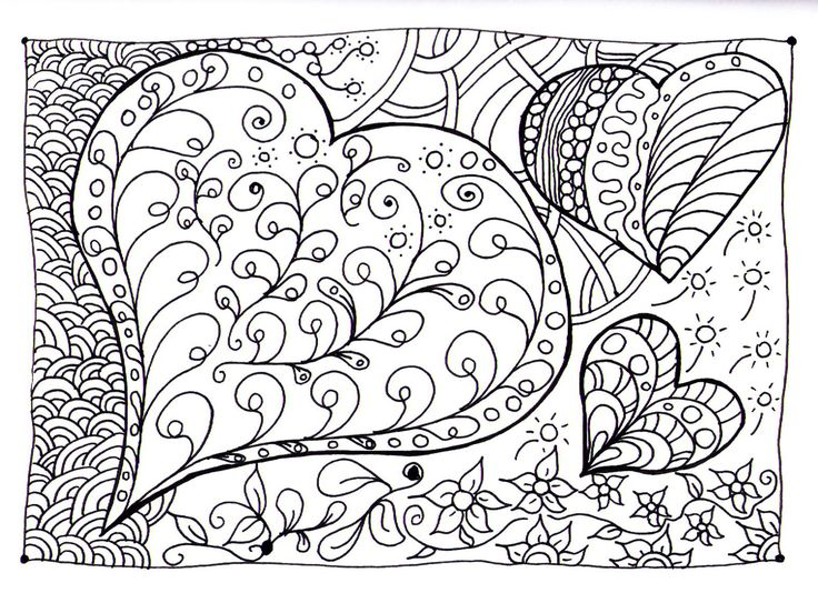 Scribble Drawing Art Therapy : Free coloring page «coloring heart zen adult