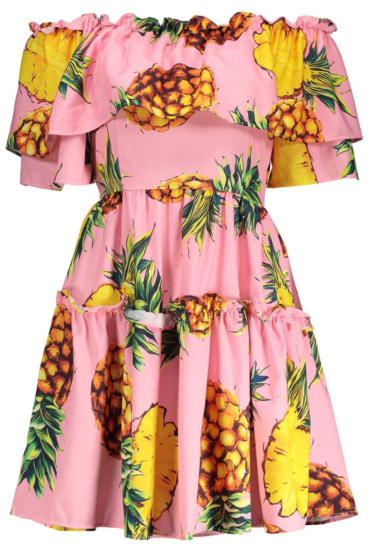 $18.91 Off The Shoulder Pineapple Print Dress - Pink