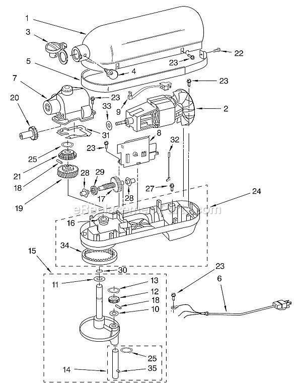 Fix A Kitchenaid Professional Stand Mixer on drawings exploded views