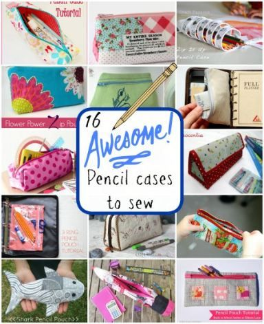 Free pencil case sewing patterns and tutorial. All sorts of diy zipper pouches and cases including some really interesting ideas. Cute summer travel gift idea.