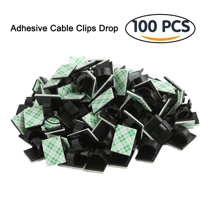 Shintop 100pcs Adhesive Cable Clips Cable Drop Clamp for Car, Home, Office (Black)