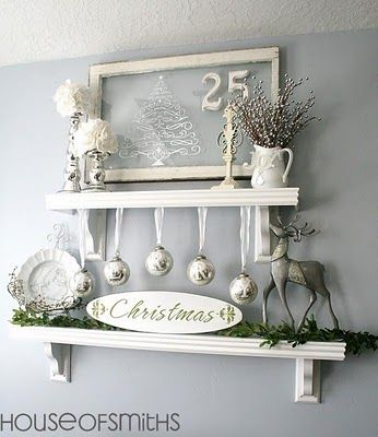 Clean Christmas Decor. Love the White.: Ideas, Silver Christmas, Shelves, White Christmas, Old Window, Holidays Decor, Christmas Display, House, Christmas Decor