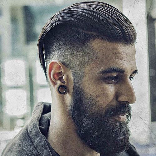 Hairstyles with Beards - High Taper Fade with Long Slicked Back Hair