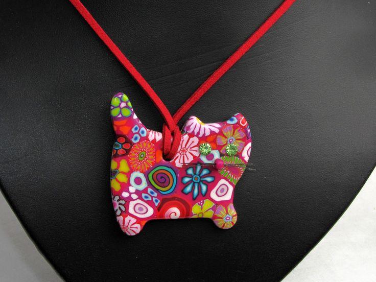 Ketten lang - Katze polymer clay, Halskette, millefiori, fimo - ein Designerstück von filigran-Design bei DaWanda