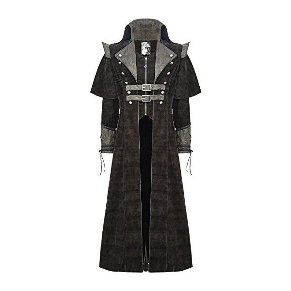 Punk Rave Mens Coat Long Jacket Brown Gothic Steampunk VTG Regency... ($205) ❤ liked on Polyvore featuring men's fashion, men's clothing, men's outerwear, mens longline bomber jacket, steampunk mens clothing, mens clothing and gothic mens clothing