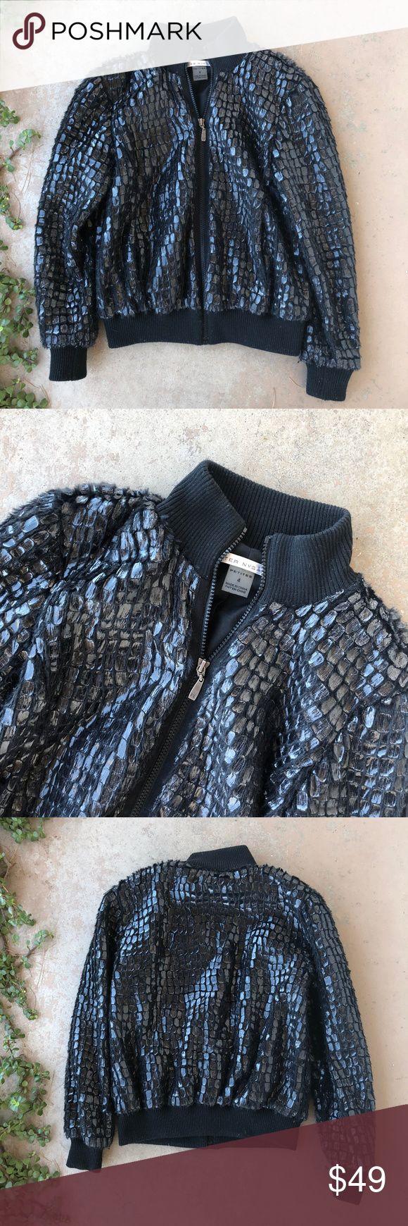 Peter Nygard Metallic Mirror Fur Bomber Jacket Black fur