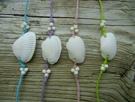 Things to do with shells found along the beach. Girls weekend bracelets!
