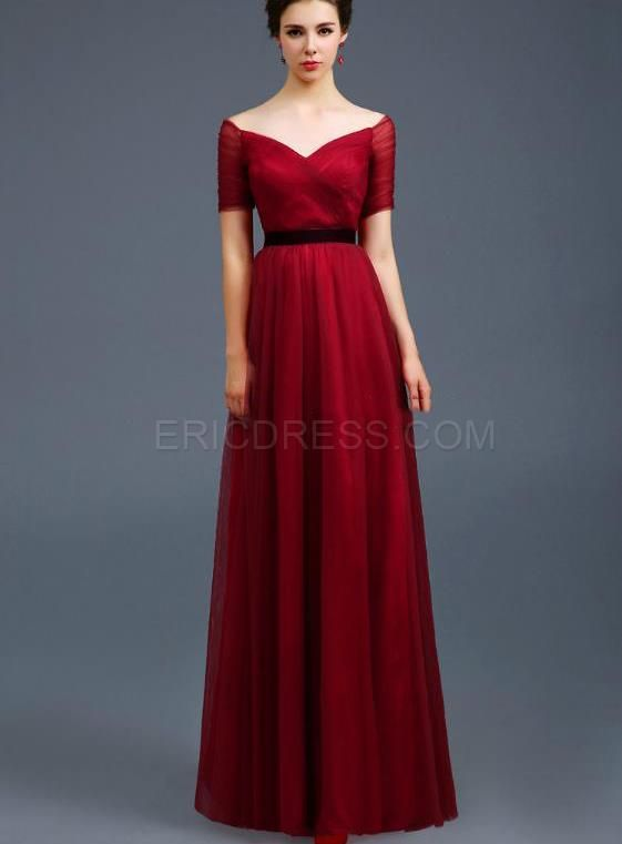 Off-the-Shoulder Ruched A-Line Evening Dress Vintage Evening Dresses- ericdress.com 11151440