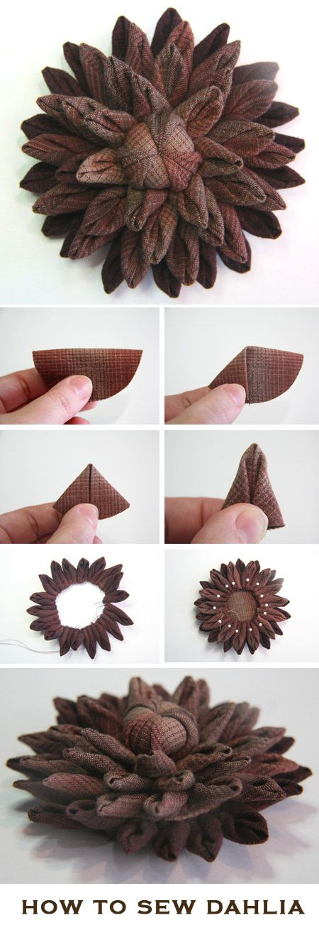 How to sew the Dahlia flower brooch http://www.free-tutorial.net/2017/04/how-to-sew-dahlia-flower-brooch.html