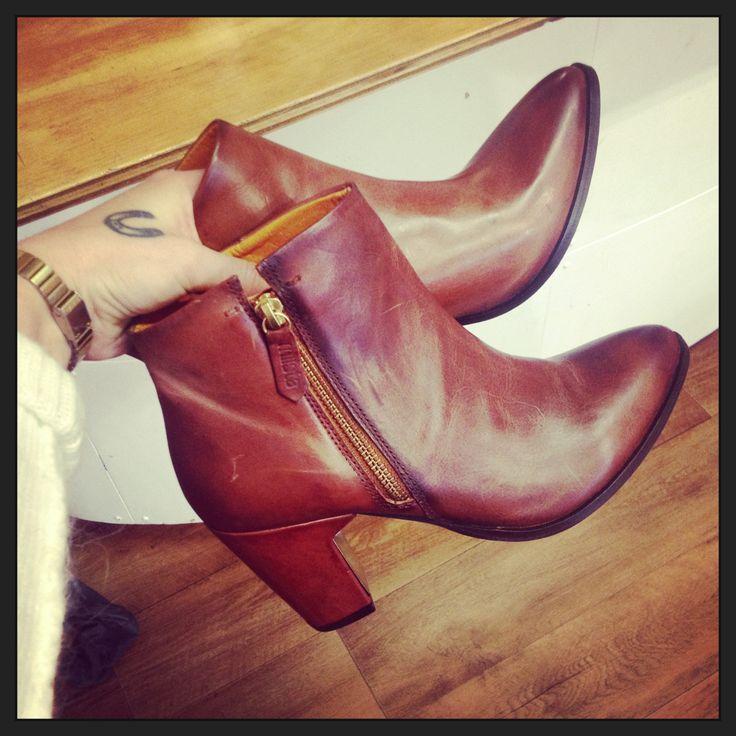 Miista Val Cognac ankle boots.