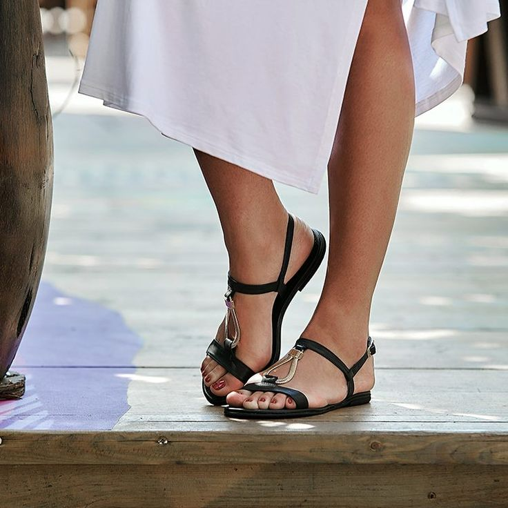 Always CLASSIC black sandals with metallic details #SAGIAKOS !