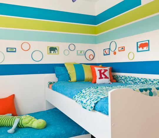 This is a great way to work with #BoldColour— the #hues are all on the #cool end of the colour spectrum, so they play well together, and if you get tired of the look down the road, you can do it over with a fresh coat of paint.  #KidsBedroom #ChildrensBedroom #BedroomPaint #BluePaint #GreenPaint #WhitePaint #Décor #PaintIdeas #Painting #Ireland #PatMcDonnellPaints