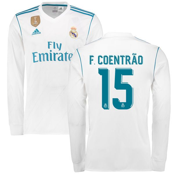 ... Soccer Jersey Fabio Coentrao Real Madrid adidas 201718 Home Replica  Patch Long Sleeve Jersey - White ... b11e7c9de6ce3
