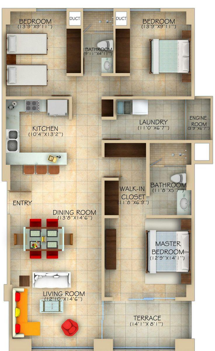 7 best home images on Pinterest | House design, Bedroom apartment ...