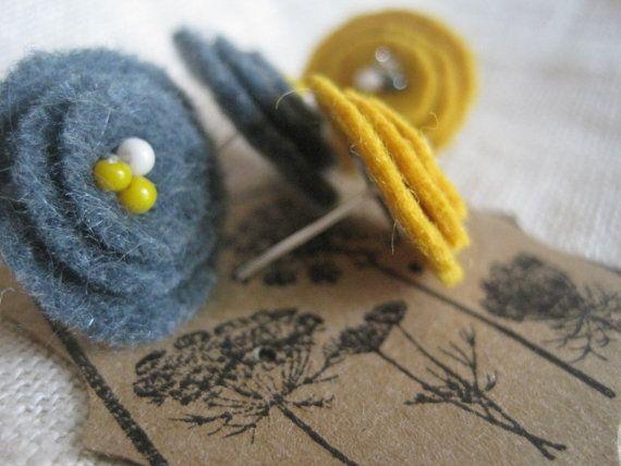 Woollen felt earrings - this gives me lots of ideas