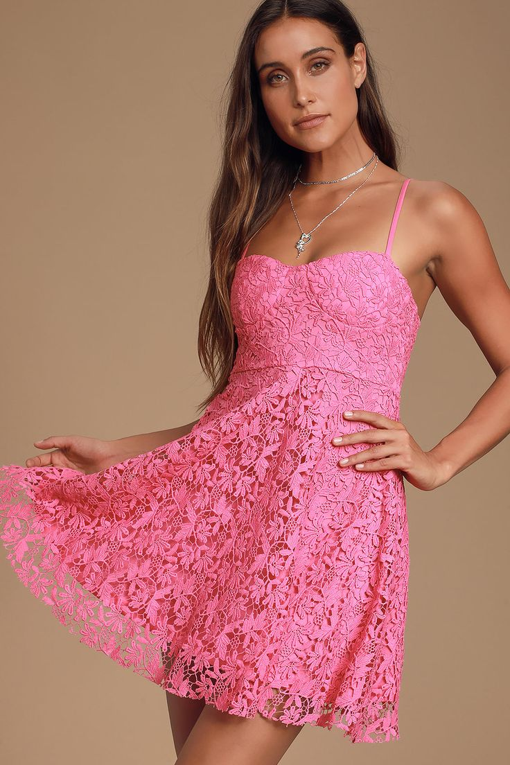 Lulus | So Into You Hot Pink Crochet Lace Bustier Skater Dress | Size X-Large | 100% Polyester