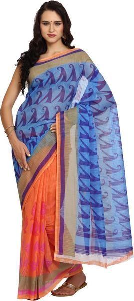 LadyIndia.com #Printed Sarees, Trendy Printed Orange Saree For Women-Sari, Printed Sarees, Casual Saris, Silk Saree, https://ladyindia.com/collections/ethnic-wear/products/trendy-printed-orange-saree-for-women-sari