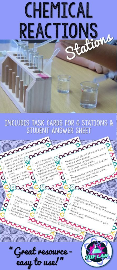 A fun, engaging introduction to Chemical Reactions! Included Task Cards for 6 Stations.
