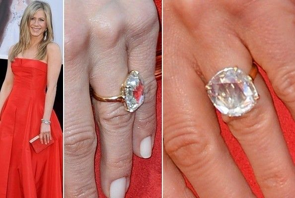 When Justin Theroux was picking out rings for Jennifer Aniston, he must have known he'd need to outdo Brad Pitt, who codesigned the engagement ring for her first marriage. To make a lasting impression, Justin went with this giant rose-cut diamond, which has been refracting photographers' flashes in impressive ways since she first started wearing it last year