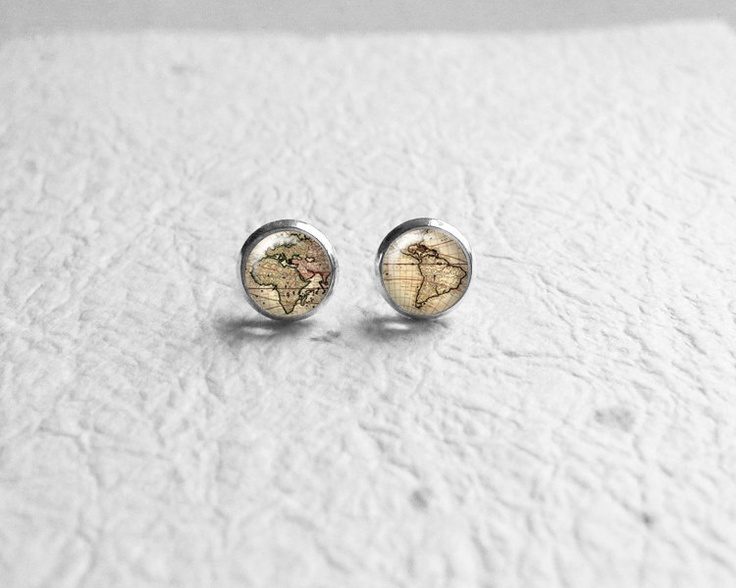 428 best map jewelry images on pinterest photo jewelry cards and maps retro space love gift valentines day globetrotter vintage world map stud earrings gumiabroncs Choice Image