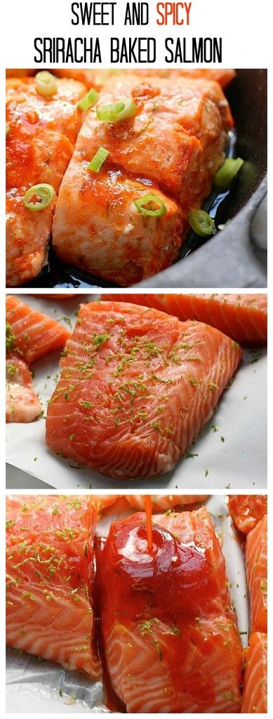 Sweet and Spicy Sriracha Baked Salmon! Less than 20 minutes start to finish!
