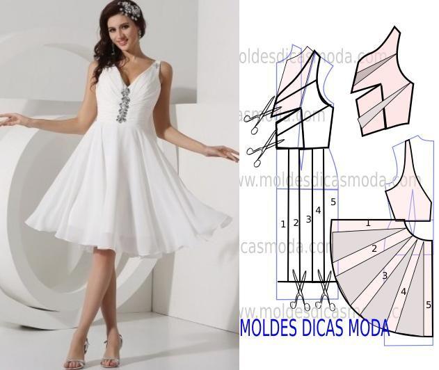 Analise de forma detalhada o desenho do molde vestido branco. Vestido simples e arrojado que veste de forma muito elegante. Com a aproximação das festas sã