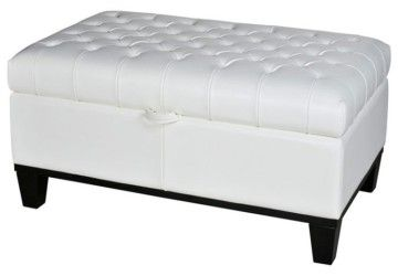 5 New White Leather Ottoman Coffee Table