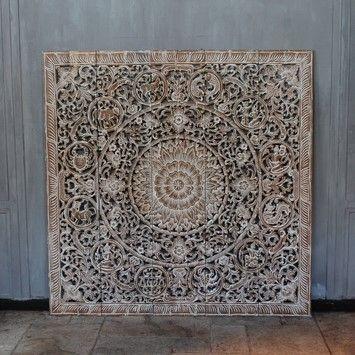 Houtsnijwerk pure dierenriem wit naturel 150 x 150 cm