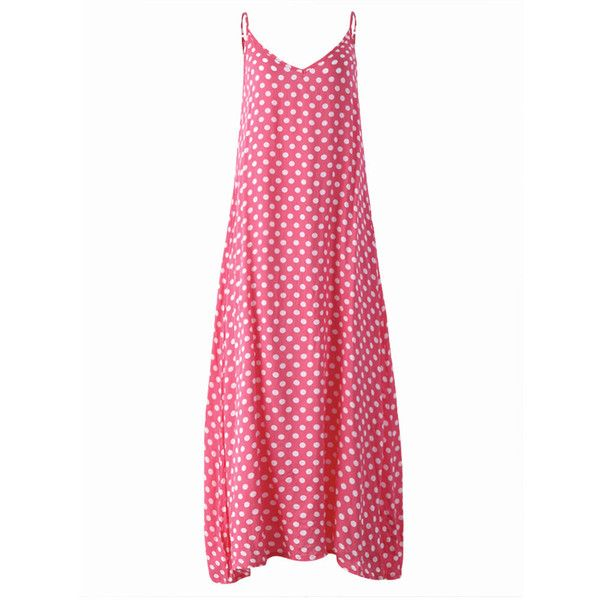 Sexy  Sleeveless Strap Polka Dot Backless V Neck Summer Beach Dress ($14) ❤ liked on Polyvore featuring dresses, sexy beach dresses, white backless dress, sexy white dresses, white summer dress and sexy backless dresses