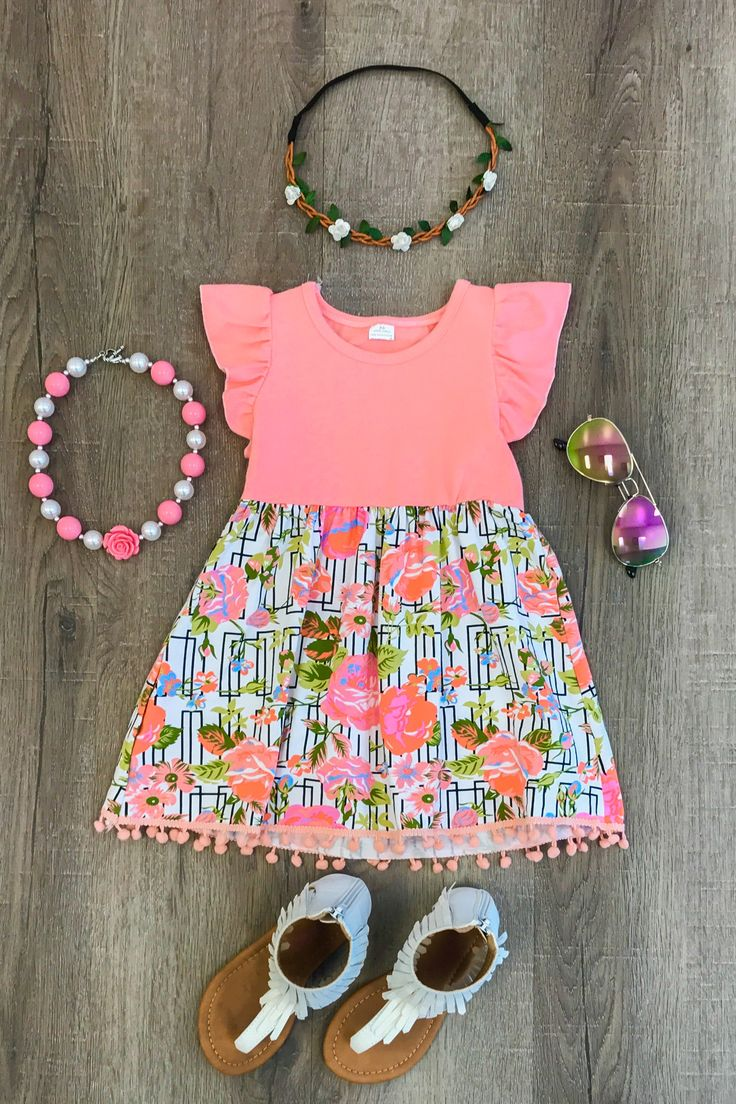 Olivia Coral Floral Dress