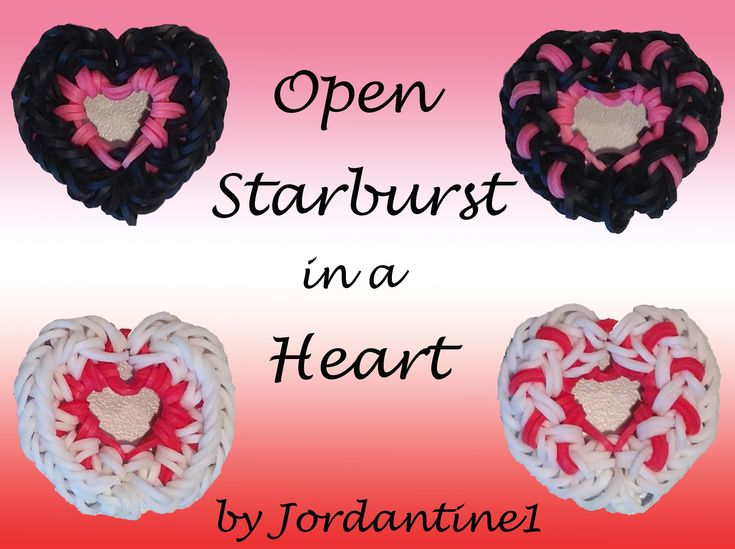 New Open Starburst in a Heart Charm - Rainbow Loom
