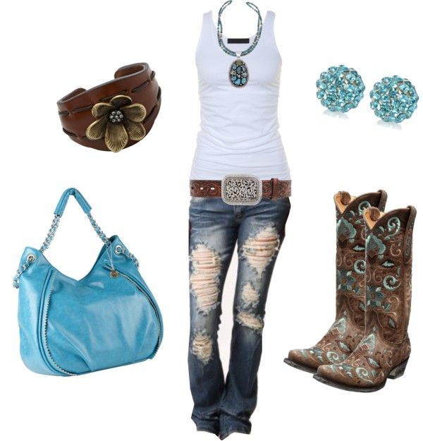 """""""Brown and Blue Boots"""" by sarah-jones-3 on Polyvore"""