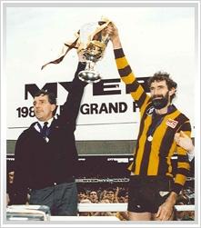 1988, Hawthorn 22.20 (152) d Melbourne 6.20 (56).    Coach: Alan Joyce  Captain: Michael Tuck