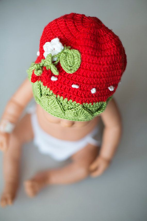 Crochet Strawberry Baby Hat, Crochet Newborn Hat, Photo prop