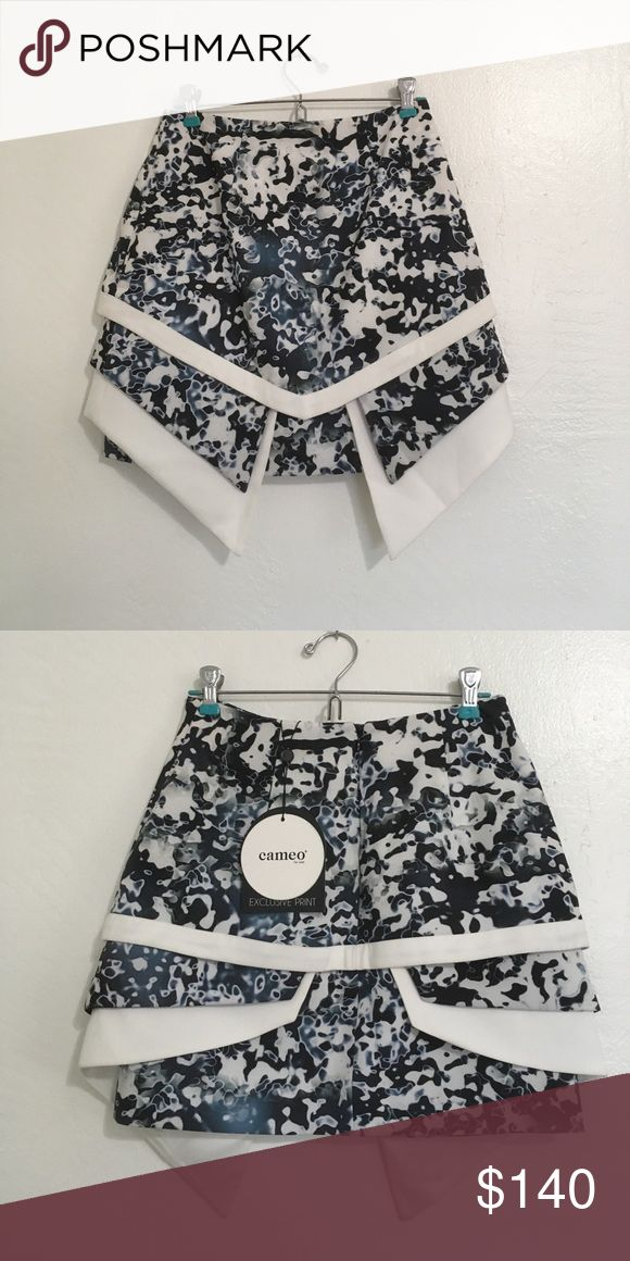 """[cameo the label] NWT losing it skirt Never worn, new with tags. Scuba material structural skirt. Exclusive """"oil spill"""" pattern. *cameo the label changed their name to C/MEO COLLECTIVE* C/MEO Collective Skirts Mini"""