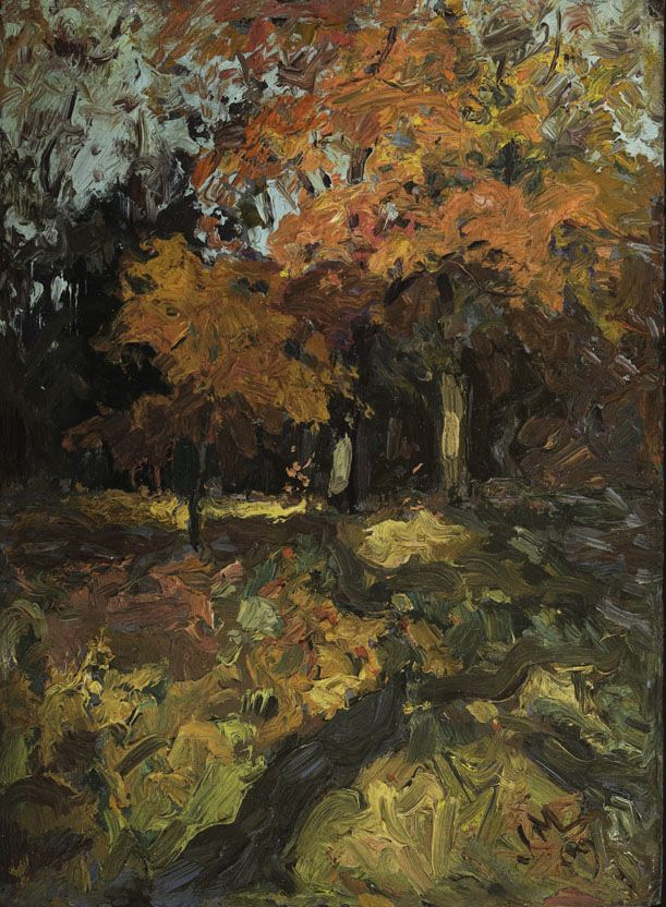 J.E.H. MacDonald (1873 - 1932), Oaks, October Morning, 1909, oil on paperboard, 17.5 x 12.8 cm, Gift of Mr. R.A. Laidlaw, 1966.15.15