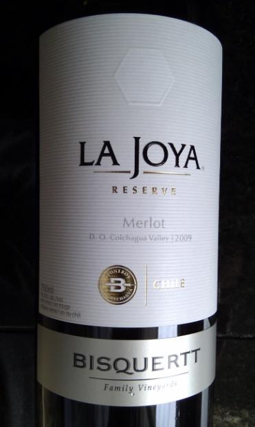 2009 Viña Bisquertt Merlot Casa La Joya Reserve, Chile, Central Valley, Rapel Valley, Colchagua Valley
