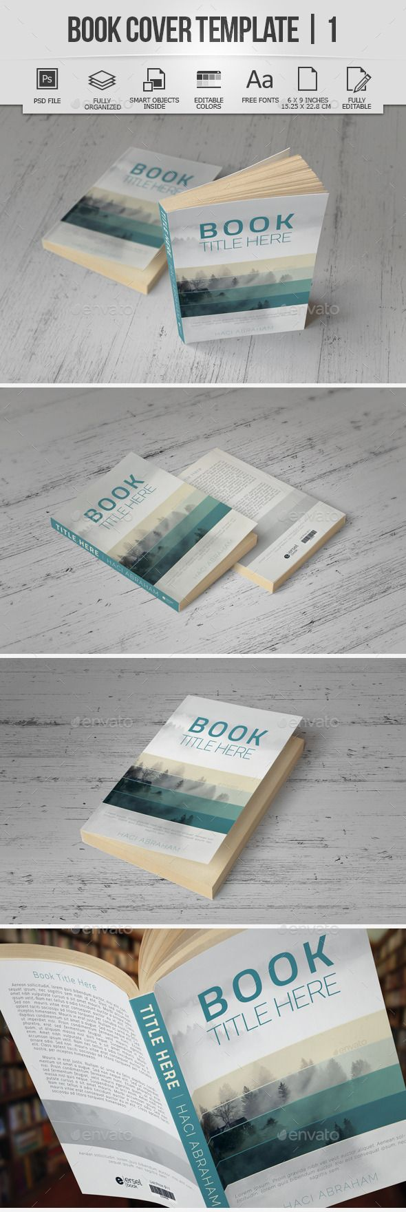Book Cover Template | 1 — Photoshop PSD #back #blue • Available here → https://graphicriver.net/item/book-cover-template-1/9550223?ref=pxcr