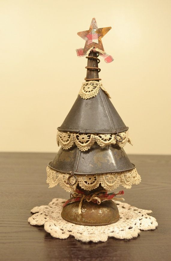 CHRISTMAS TREE CRAFT, DIY. SIMPLY FUNNELS, TRIMS, RIBBONS, WIRE AND A TINY STAR. HOW CUTE IS THIS....