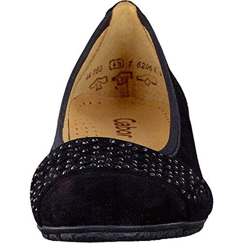 Gabor Fashion Damenschuhe 44.160.17 Damen Ballerinas Slipper Slip-On Leder (Wildleder) Schwarz (schwarz), EU 39 - http://on-line-kaufen.de/gabor/5-5-uk-gabor-glitz-damen-ballerinas