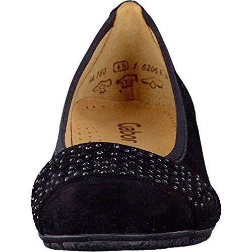 Gabor Fashion Damenschuhe 44.160.17 Damen Ballerinas Slipper Slip-On Leder (Wildleder) Schwarz (schwarz), EU 39 - http://on-line-kaufen.de/gabor/5-5-uk-gabor-glitz-damen-ballerinas