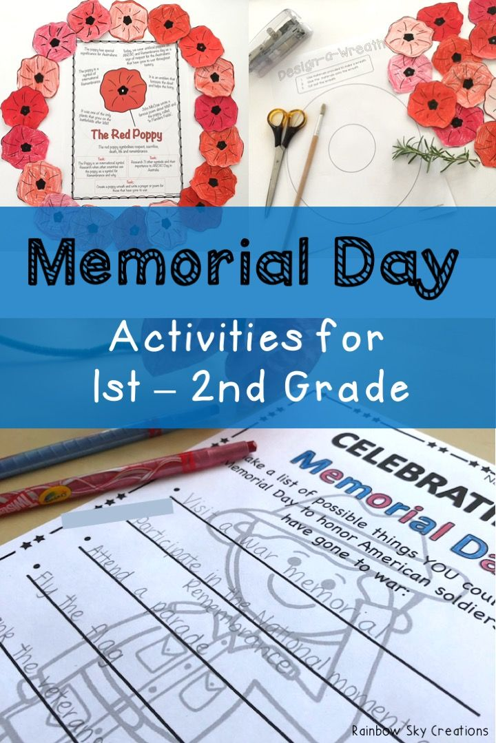 Check out these Memorial Day activities for kids. They include poppies to wear / create a class wreath, writing tasks, math activities and more. Printables are designed for students to learn about the meaning of the 4th of July and the veterans and heroes that attended world wars. Suitable for students in first grade and second grade {1st grade, 2nd grade, homeschool} Click the link to see full list of inclusions #rainbowskycreations